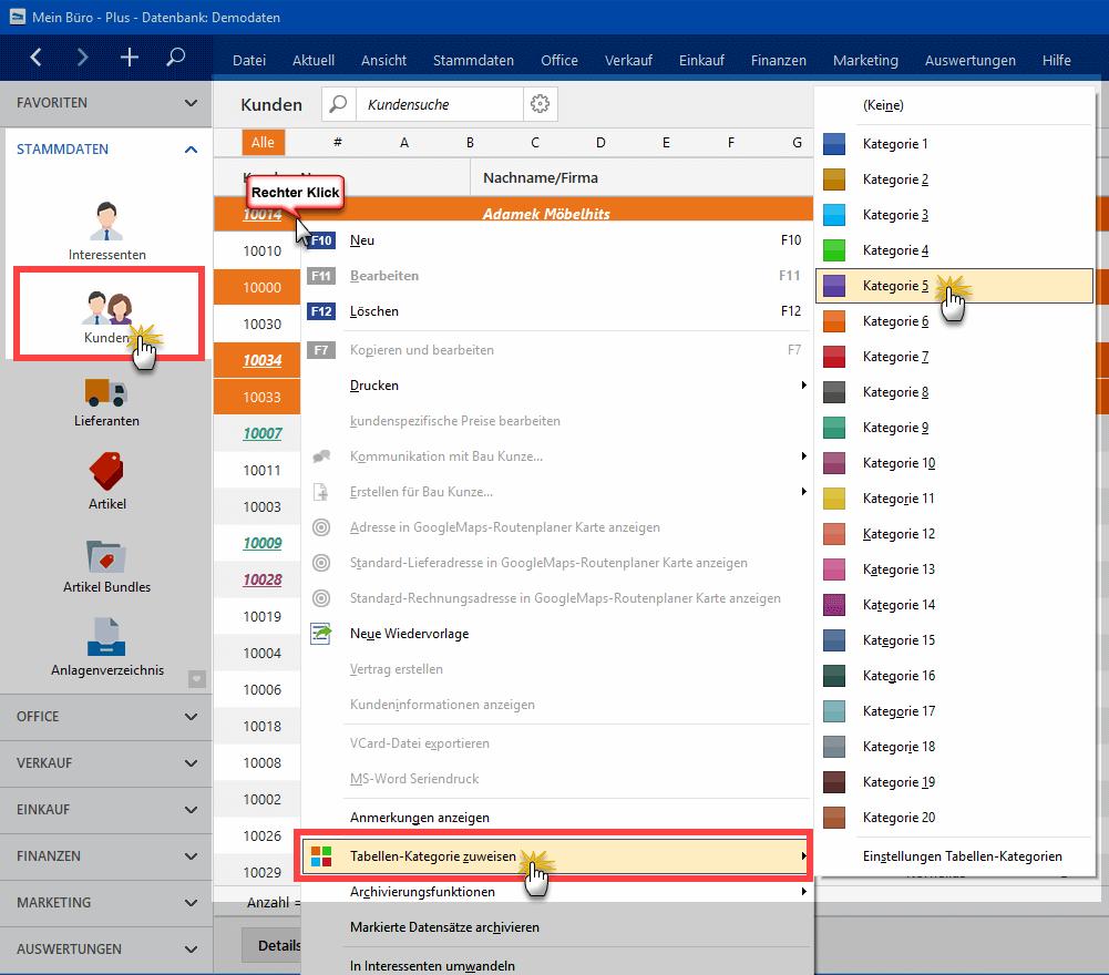 Tabellen-Kategorien zuweisen