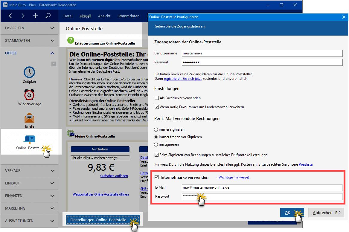 Online Poststelle Konfigurieren