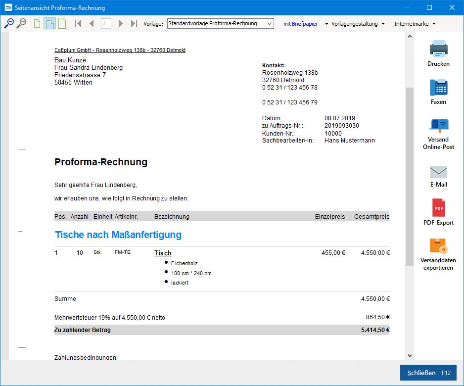 Proforma-Rechnungsvorlage