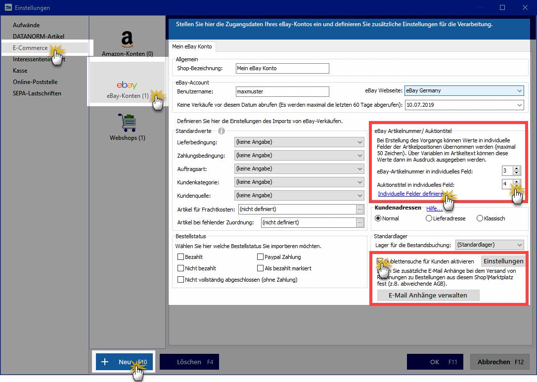 Ebay-Konten Einstellungen
