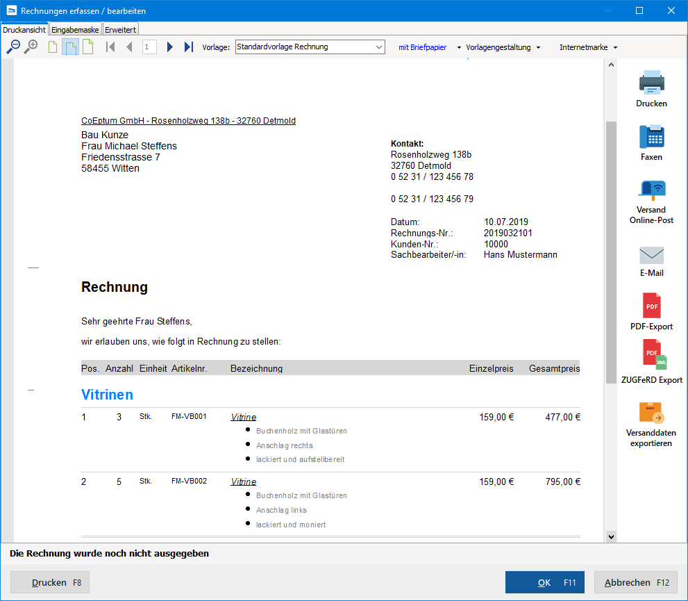 Rechnungen erfassen / bearbeiten