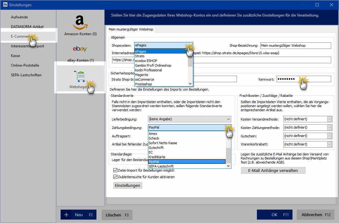 Webshop konfigurieren