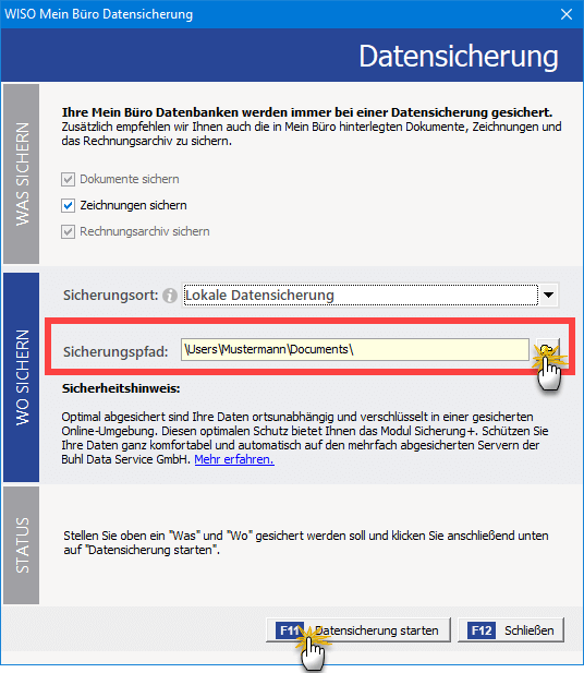 Datensicherungs Dialog