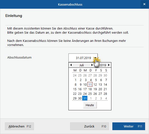 Kassenabschluss-Datum