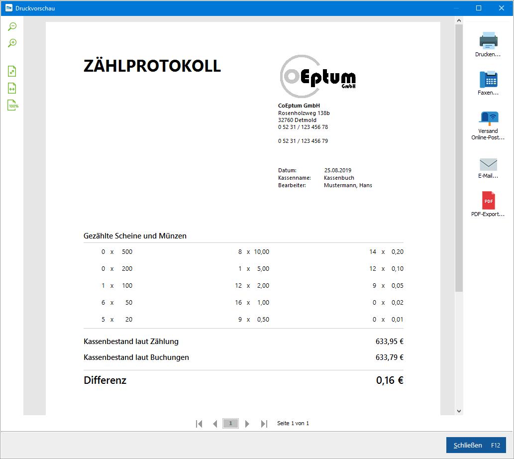 Druckvorschau-Zählprotokoll