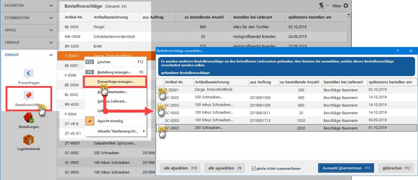 Automatisch erstellte Preisanfragen