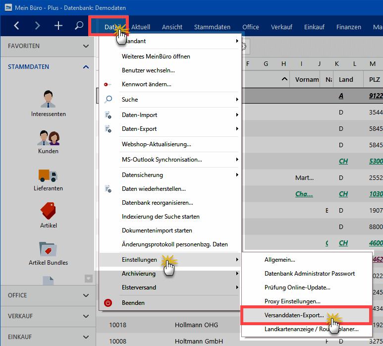 Versanddaten-Export