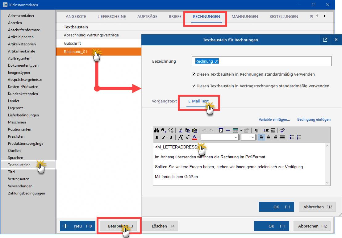 E-Mail Textbausteine