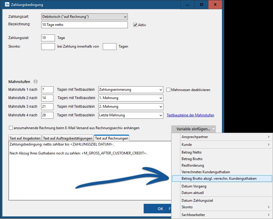 MeinBüro Kundenguthaben auf Rechnungen anzeigen