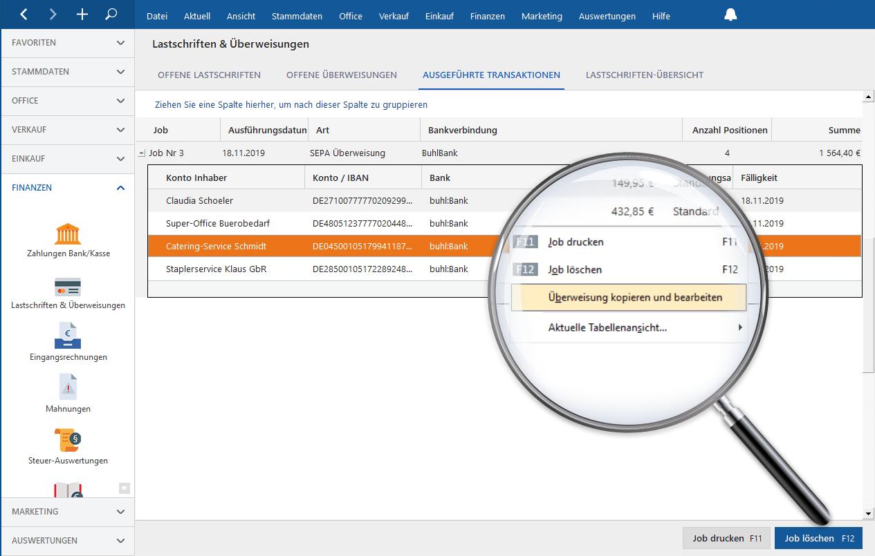 MeinBüro Neue Überweisungen aus vorherigen Transaktionen erstellen