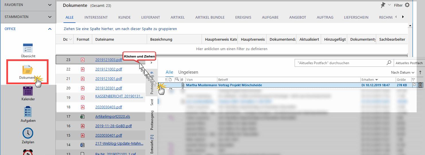 """MeinBüro-Arbeitsbereich """"Office > Dokumente"""""""
