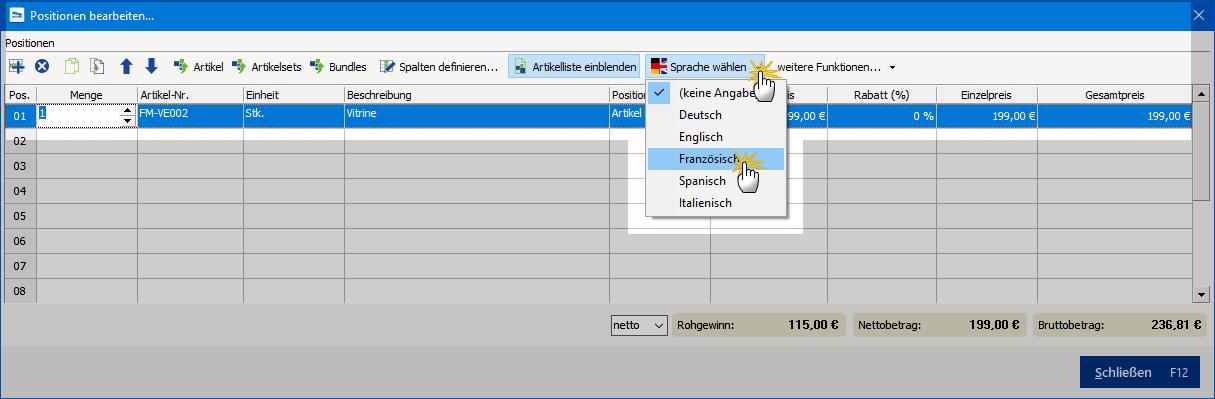Auswahl der Sprachversion im Vorgang
