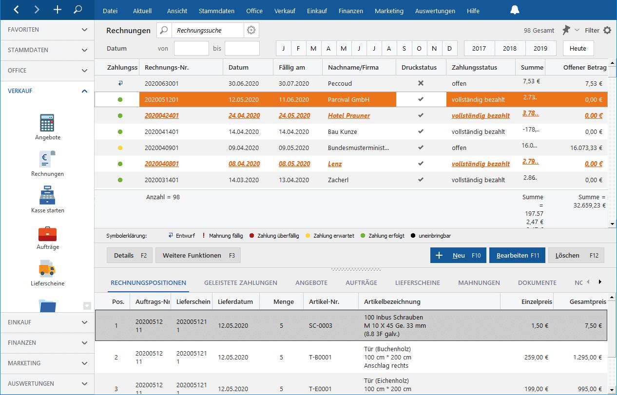 Screenshot Leistungsumfang