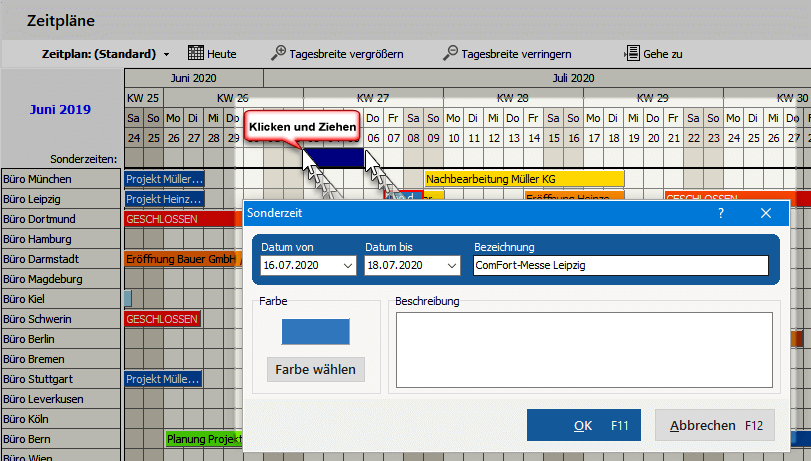 Terminkalender verschieben