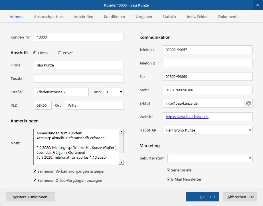 MeinBüro-Kundenstamm