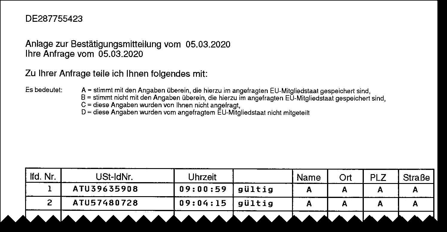 Scan: USt-ID-Prüfung - amtliche Bestätigung