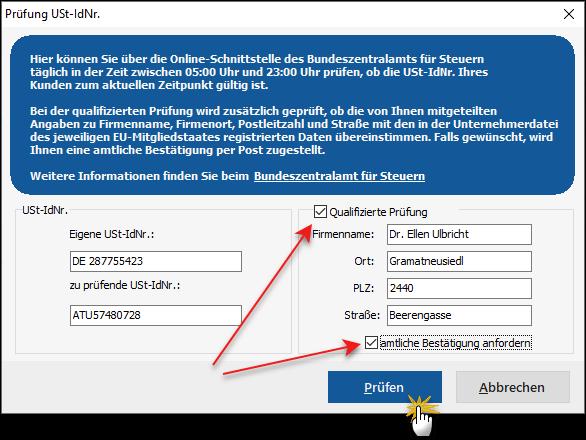Screenshot: MeinBüro - qualifizierte Prüfung - USt-ID
