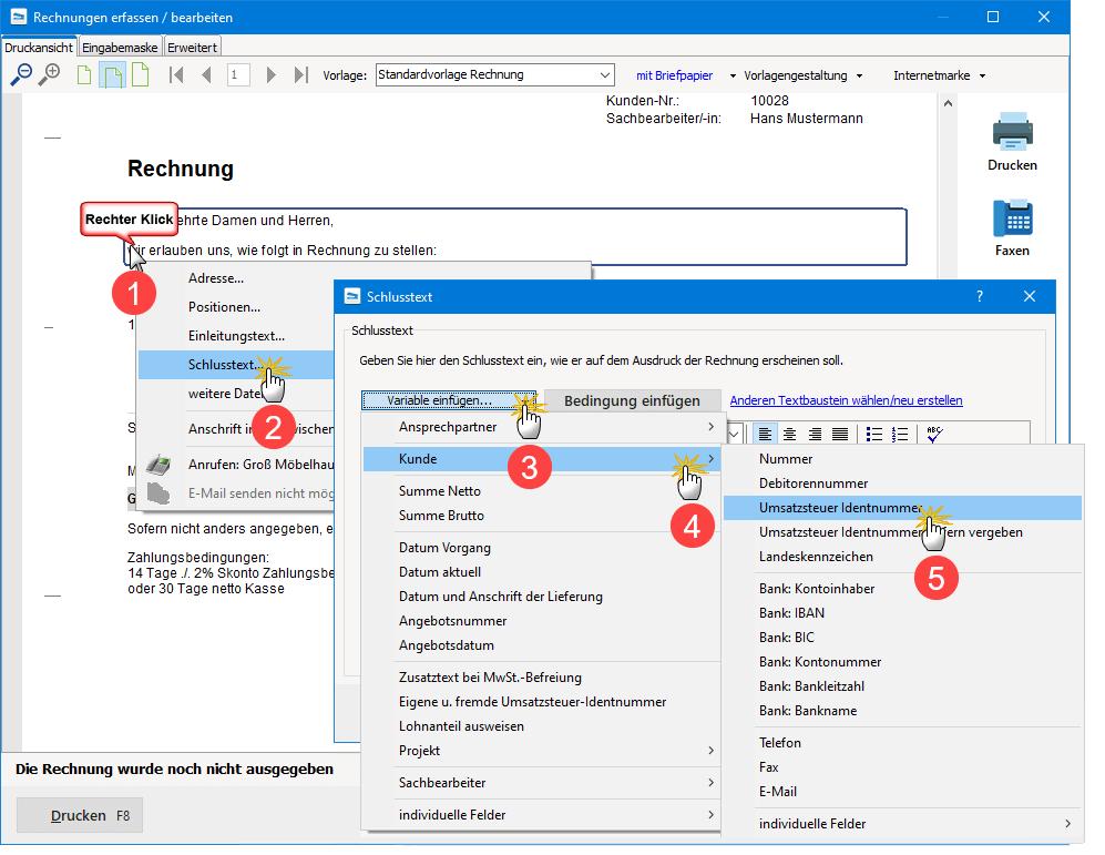 Screenshot: Mit MeinBüro die Kunden-Ust-ID in die Rechnung einfügen