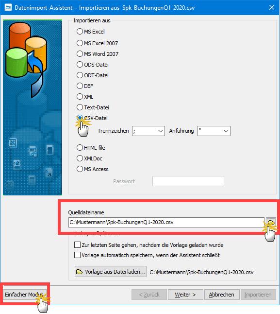 Dateiimport Assistenten