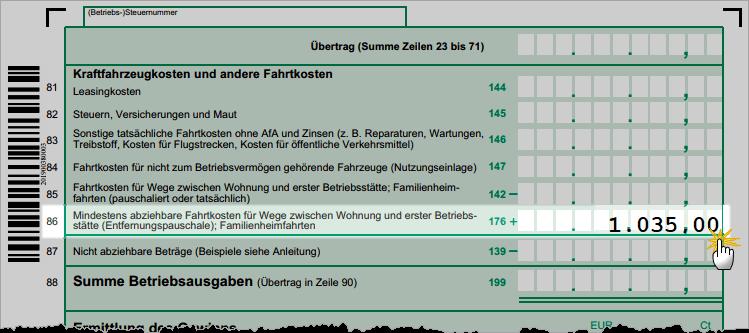 Pendlerpauschale Anlage EÜR