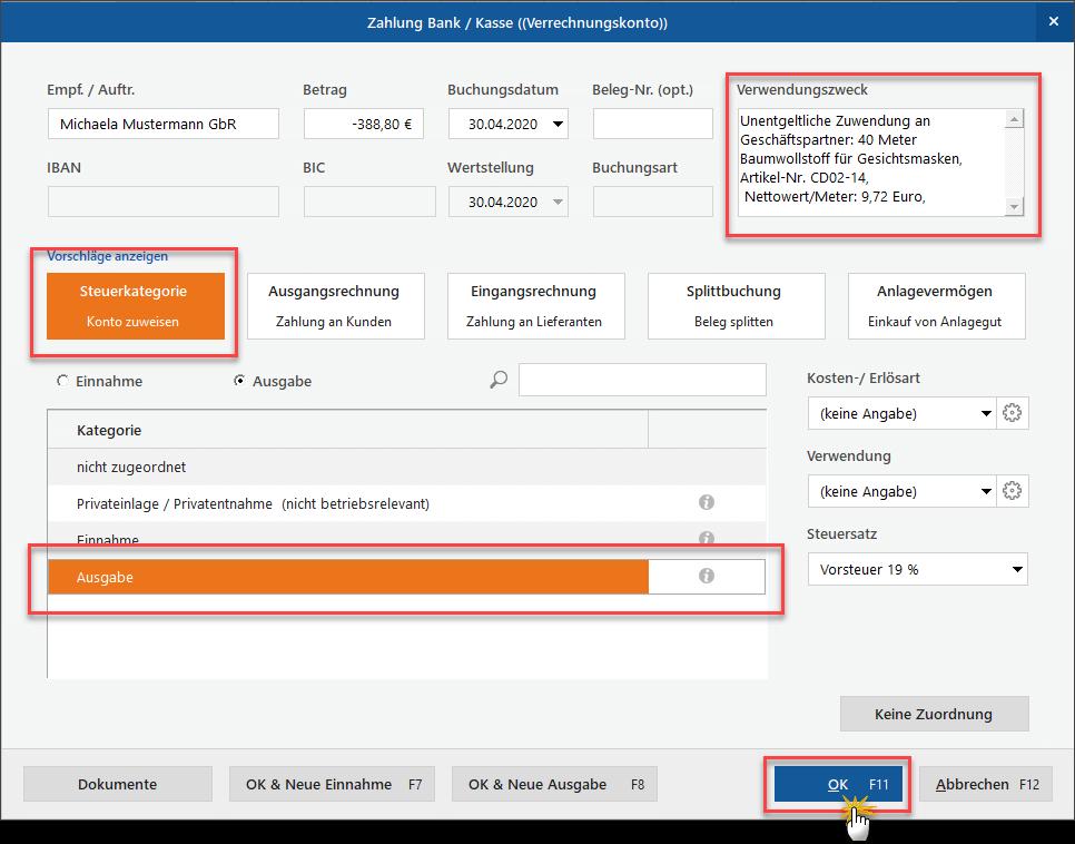 Zuwendungen buchen mit MeinBüro: als Ausgabe (Screenshot)