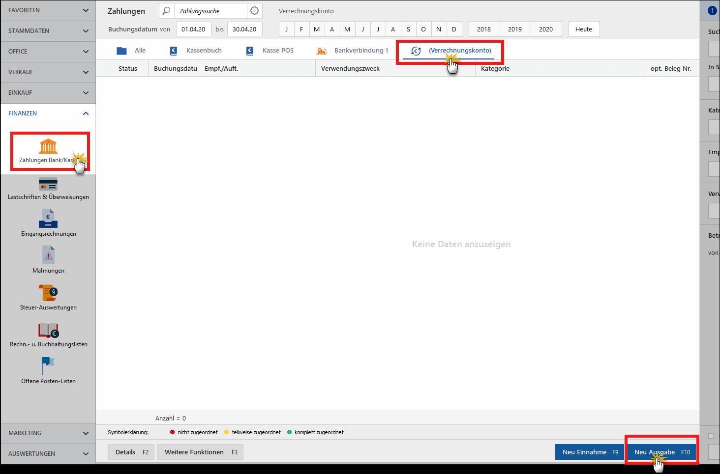 Zuwendungen buchen: Verrechnungkonto in MeinBüro (Screenshot)