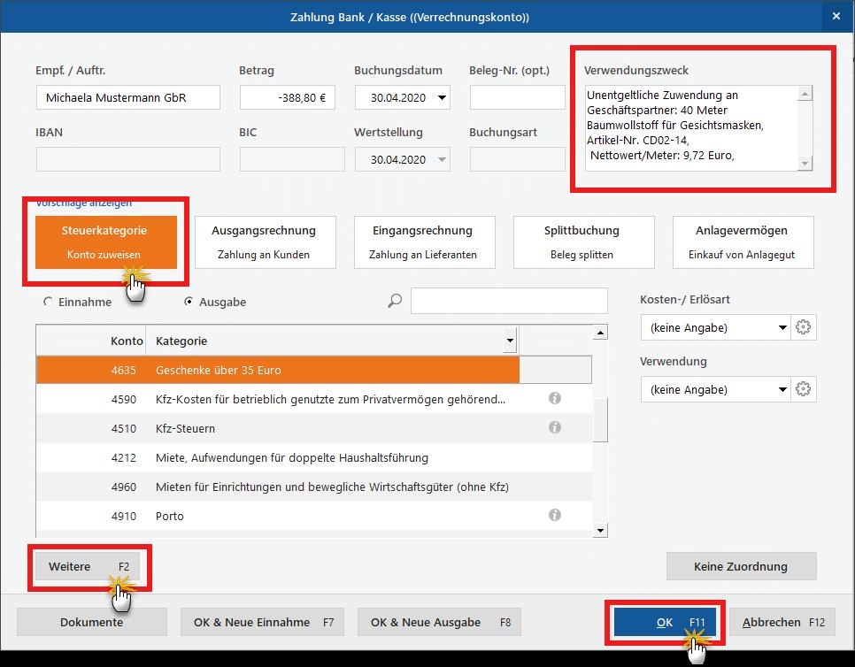 Zuwendungen an Geschäftspartner: Verwendungszweck (Screenshot)