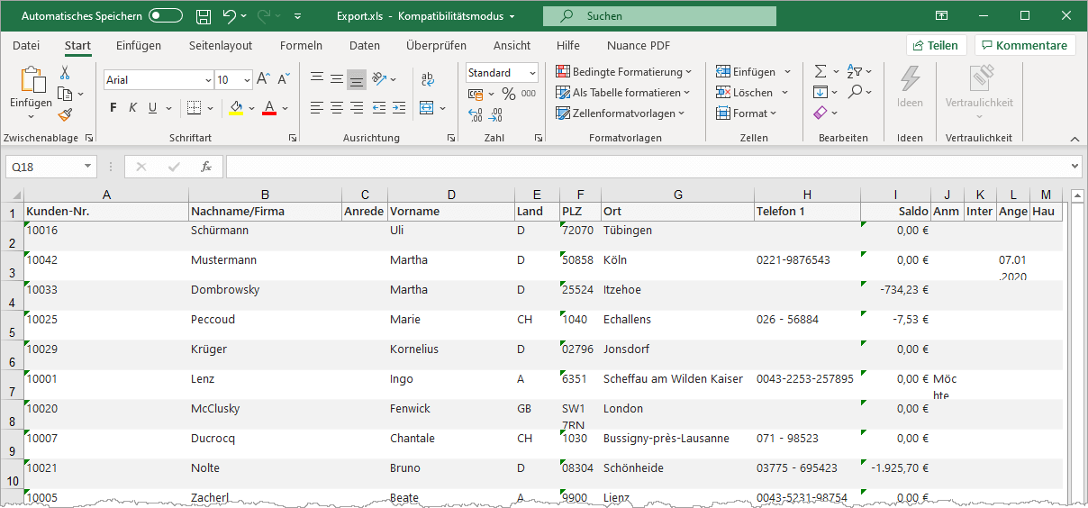 Tabelle in MS-Excel