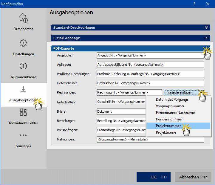 """""""Ausgabeoptionen"""" unter """"PDF-Exporte"""""""