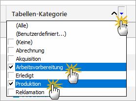 Ablauforganisation mit Tabellen-Kategorien