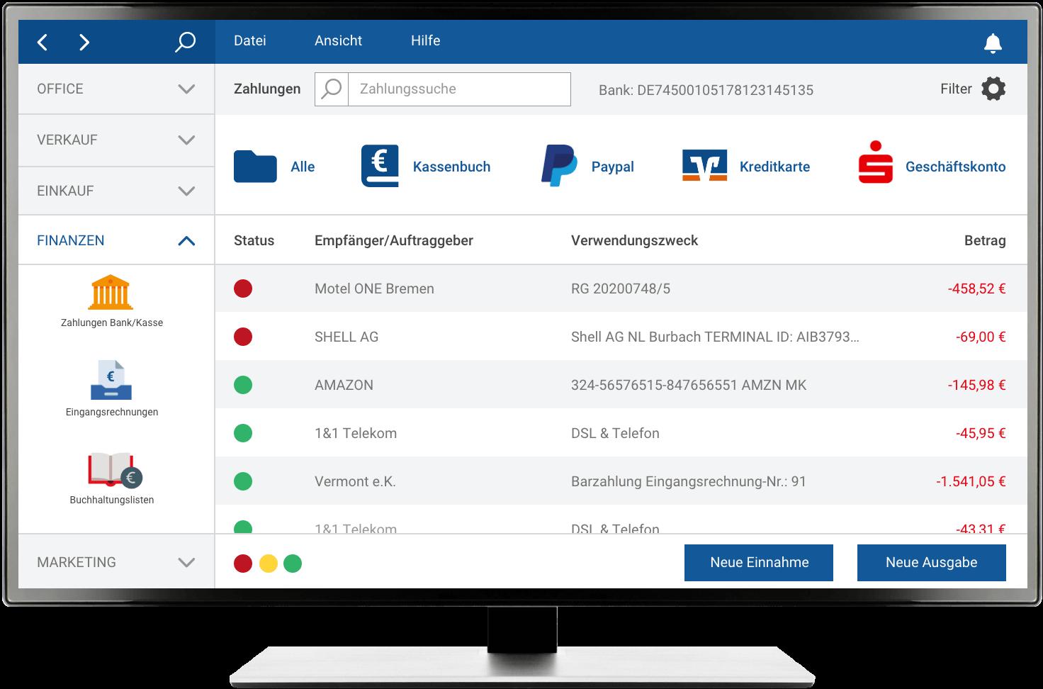 MeinBüro Einfacher Überblick über mehrere Konten