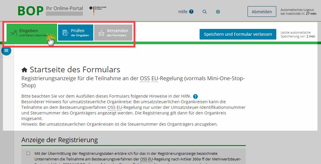 OSS-Registrierung: 2 Schritt