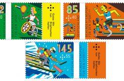 Thema: Behindertensport. Eine beachtliche Sammlung an Sportmarken