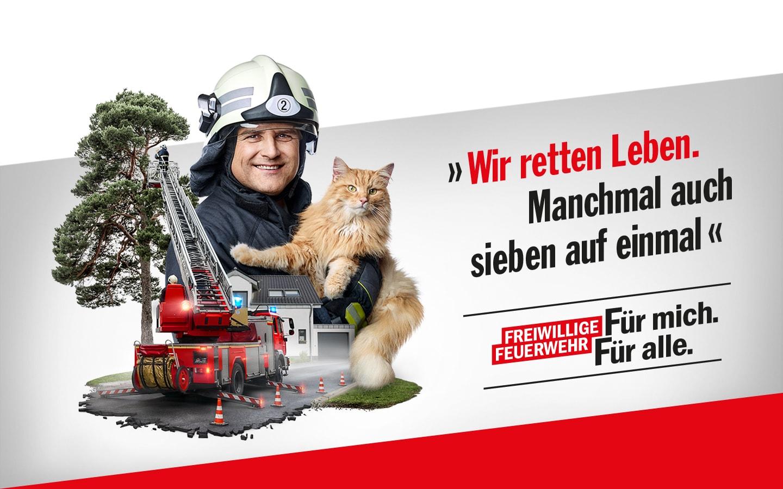 """Werbekampagne zur Mitgliedergewinnung für die Freiwillige Feuerwehr NRW. Für mich. Für alle. """"Gemeinsam geben wir alles. Damit andere nicht alles verlieren."""""""