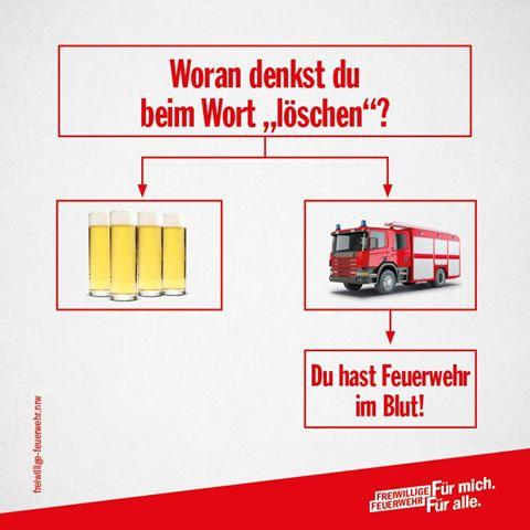 """Freiwillige Feuerwehr NRW: Woran denkst du beim Wort """"löschen""""?"""