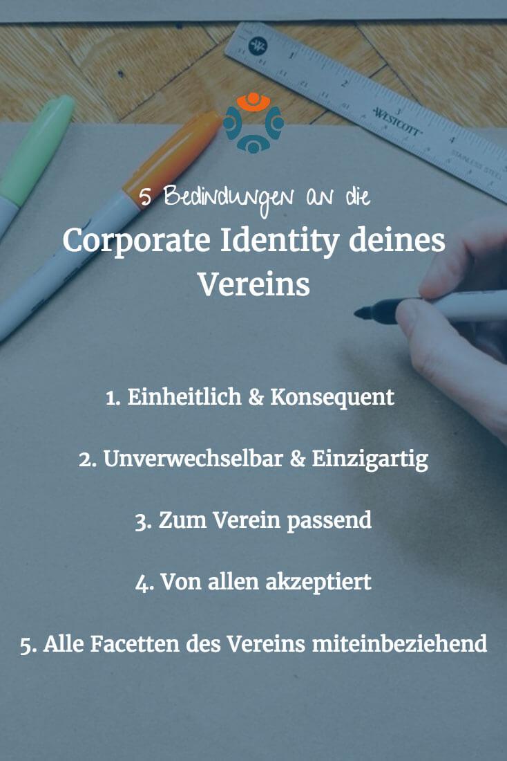 Infografik: 5 Startbedingungen an die Corporate Identity deines Vereins