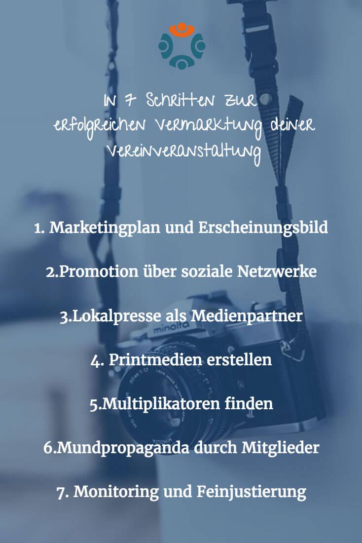 Infografik: 7 Schritte zur erfolgreichen Vermarktung deiner Vereinsveranstaltung.