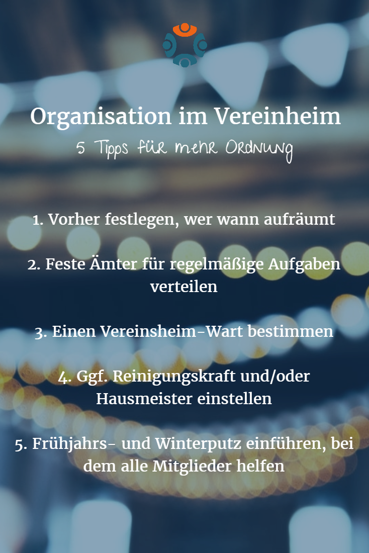 Infografik: Organisation im Vereinsheim - 5 Tipps für mehr Ordnung