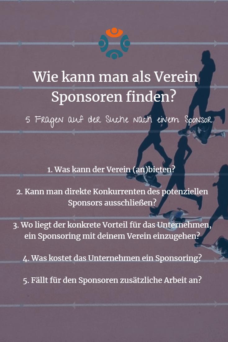 Infografik: Verein Sponsoring 1x1, 5 Fragen auf der Suche nach einem Sponsor für den Verein