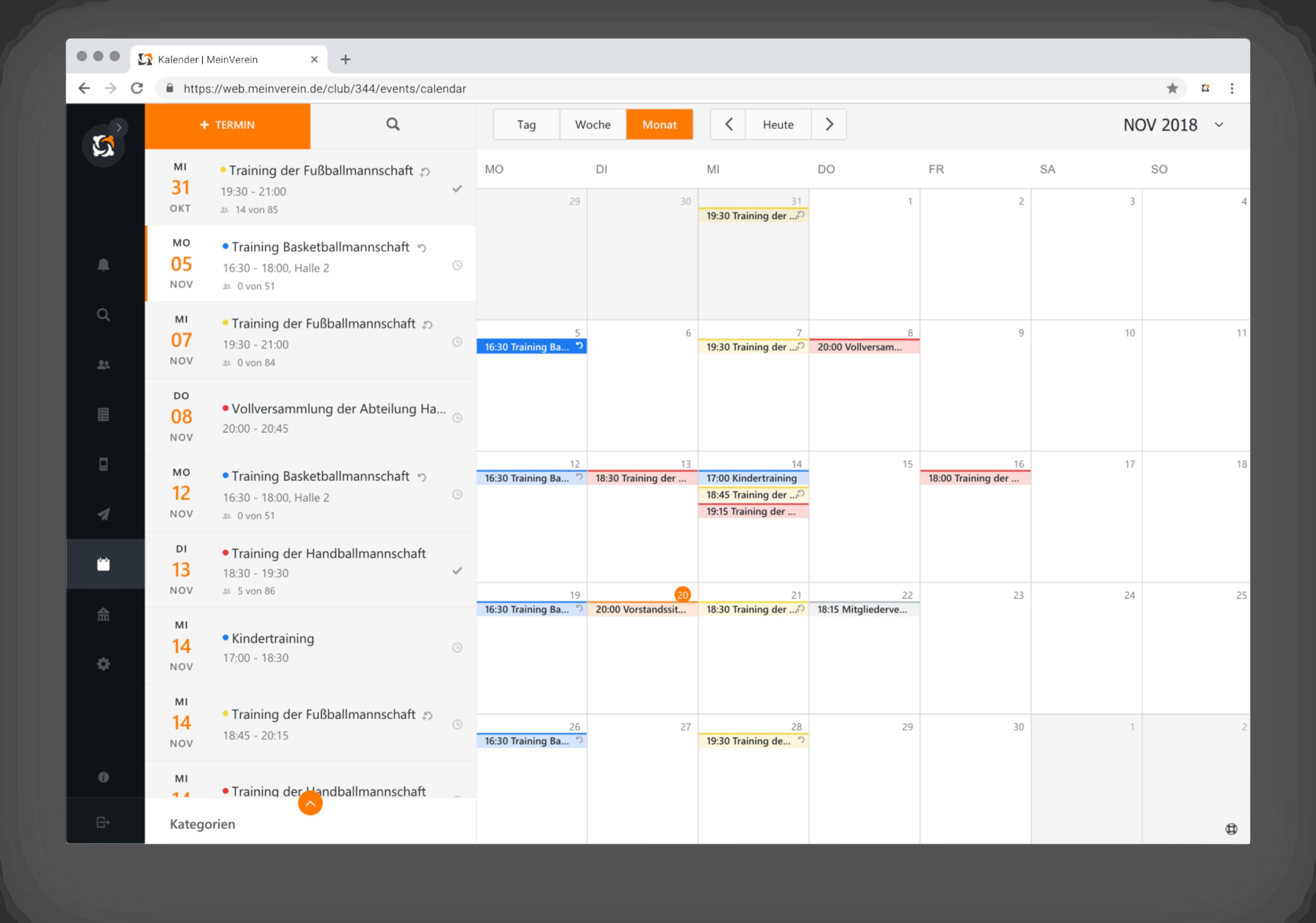 Mein Verein Kalender Monatsansicht