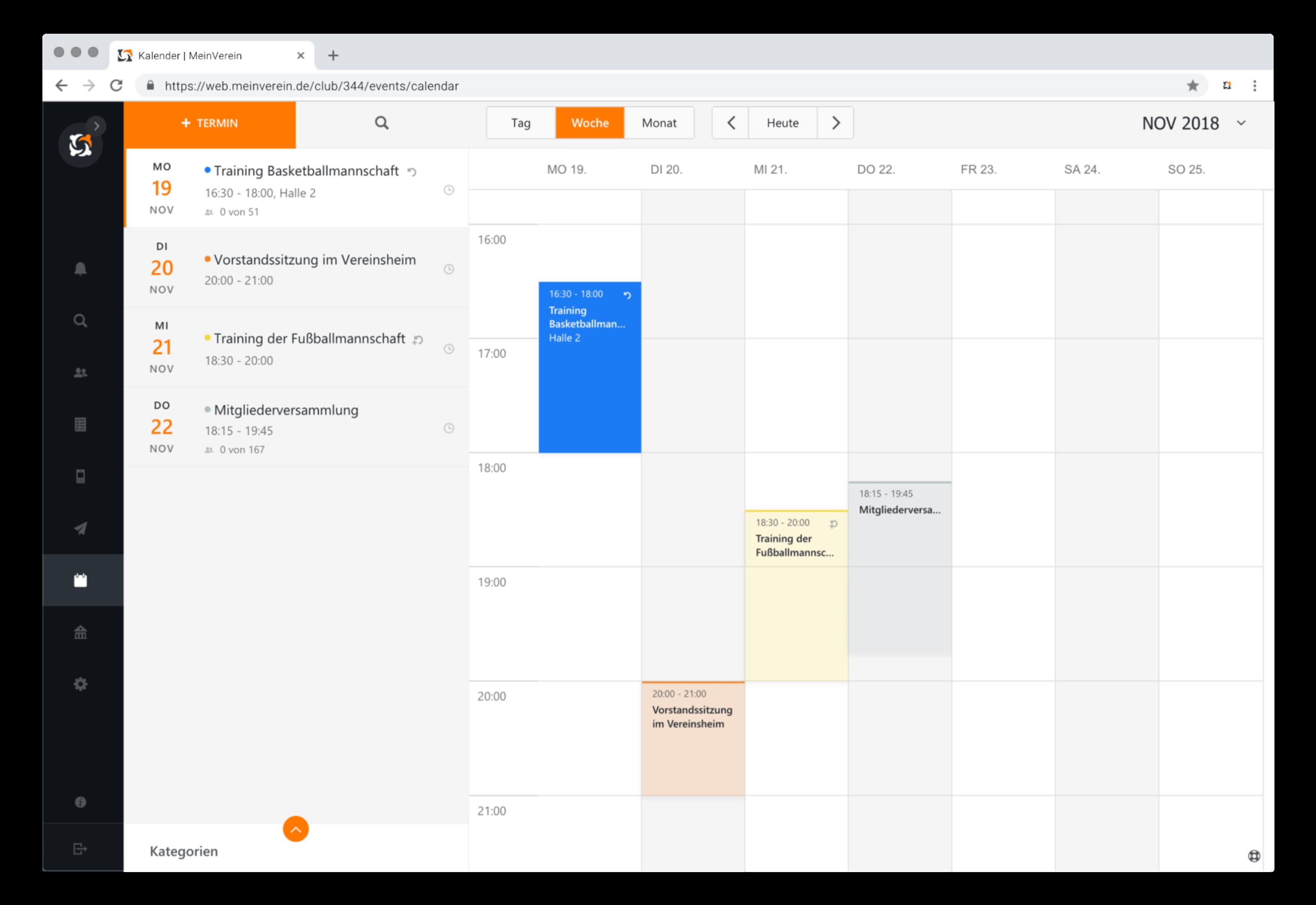 Mein Verein Kalender Wochenansicht