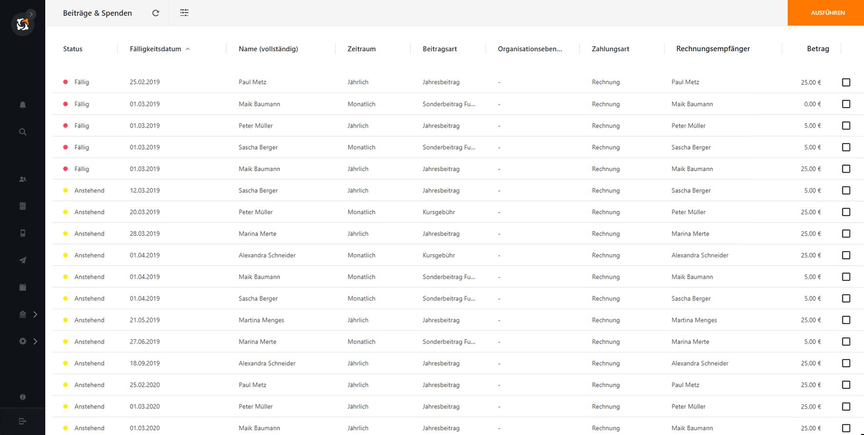 Liste anstehender Beiträge