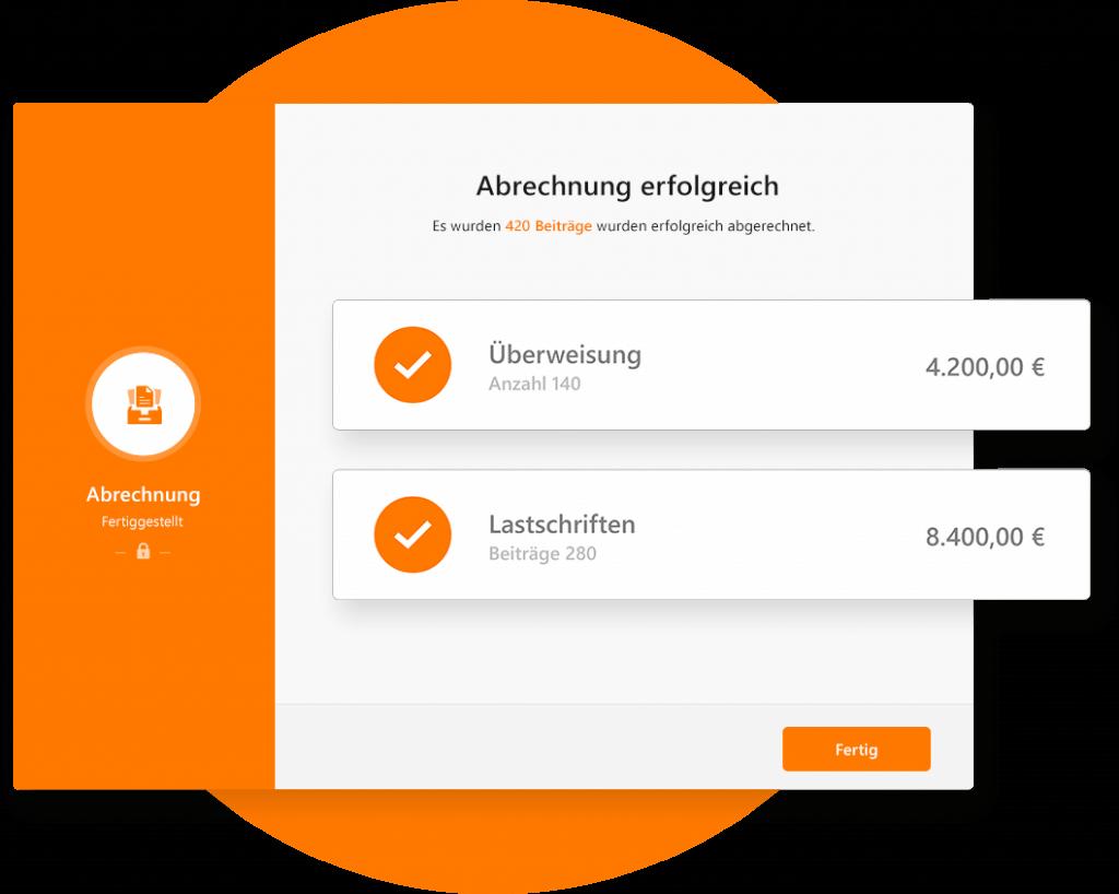 Die Vereinssoftware zeigt genau, wie viel Geld eingezogen wird