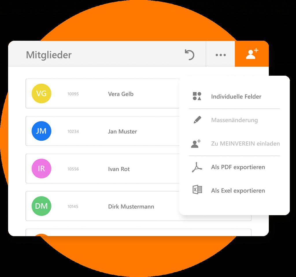 MEINVEREIN bietet ausführliche Optionen zur Datenverwaltung