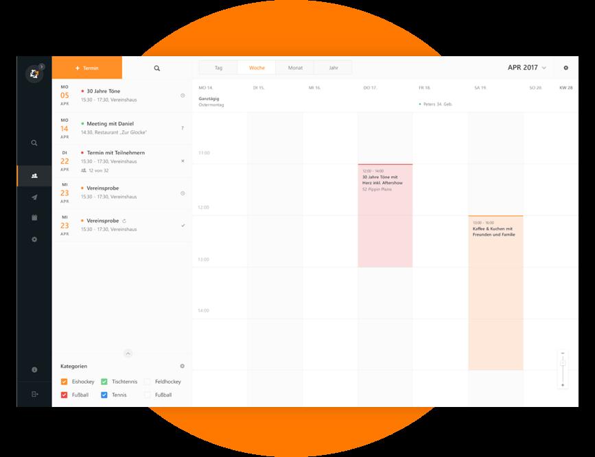Der übersichtliche Kalender zeigt alle Termine auf einen Blick