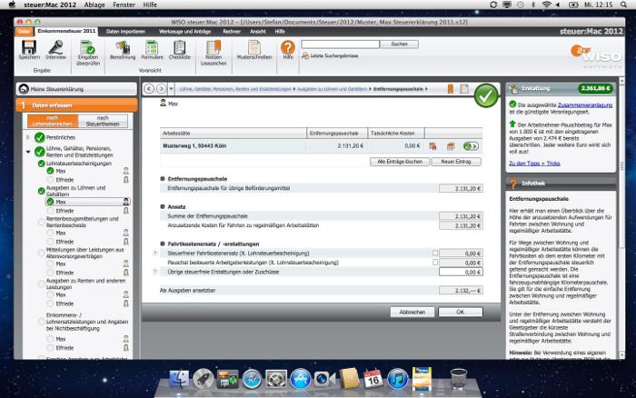 Dateneingabe: WISO steuer:Mac führt Sie durch Ihre Steuererklärung und fragt alle wichtigen Daten der Reihe nach ab – leicht verständlich und ohne komplizierte Formulare. Ihre aktuelle Steuererstattung haben Sie dabei immer im Blick. Die Infothek bietet Erläuterungen und Hilfen zum aktuell ausgewählten Thema.