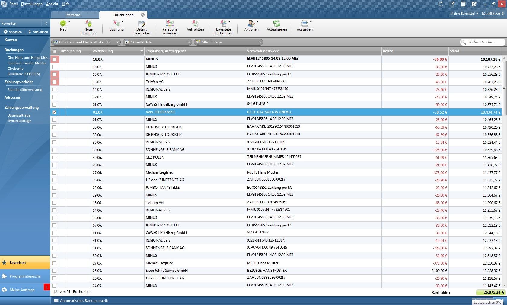 Die Buchungsliste enthält alle Buchungen für alle Konten. Unterhalb der Buchungsliste werden nach Karteikarten geordnet Detail-Informationen zur ausgewählten Buchung angezeigt.