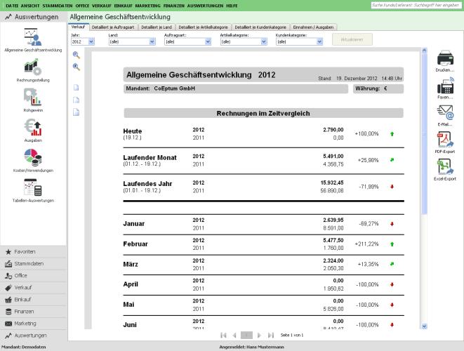 Lassen Sie sich in WISO Mein Büro zahlreiche Auswertungen generieren: Von der allgemeinen Geschäftsentwicklung…