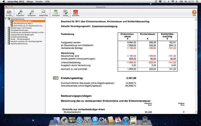 Holen Sie zurück, was Ihnen zusteht!: Die Steuerberechnung zeigt Ihnen auf den Cent genau, wie viel Geld Sie vom Finanzamt zurückbekommen. Und wenn Sie Ihren Steuerbescheid erhalten, können Sie mit WISO steuer:Mac prüfen, ob alles in Ordnung ist oder ob Sie Einspruch einlegen müssen. Dabei hilft Ihnen das Programm mit Argumentationshilfen und Musterschreiben.