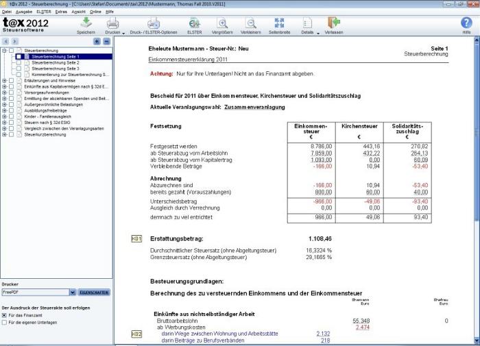 Die Ansicht der Steuerberechnung ist dem amtlichen Steuerbescheid nachempfunden. Dadurch können Sie die Programmberechnung einfach mit dem Papierbescheid vergleichen, falls es zu einer Abweichung kommt.